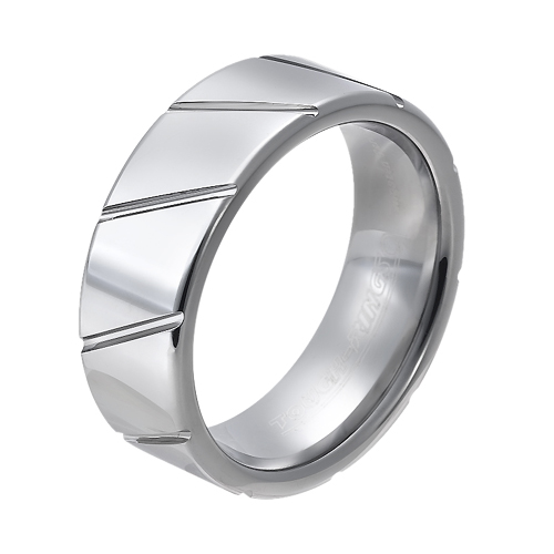 Tungsten wedding bands - polished tungsten ring with engraved trims - 8mm