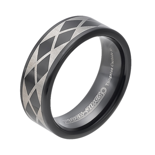 Tungsten wedding bands - black oxidized polished tungsten ring with silver trims - 8mm