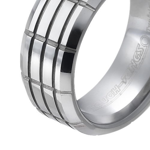 Tungsten wedding bands - polished tungsten ring 'motorhead' design - 8mm