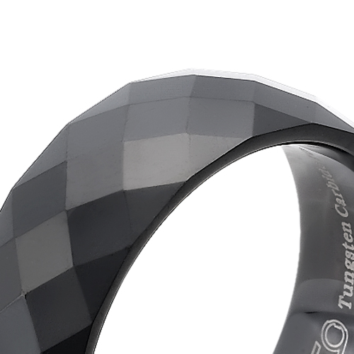 Tungsten wedding bands - polished faceted black oxidized tungsten ring - 8mm