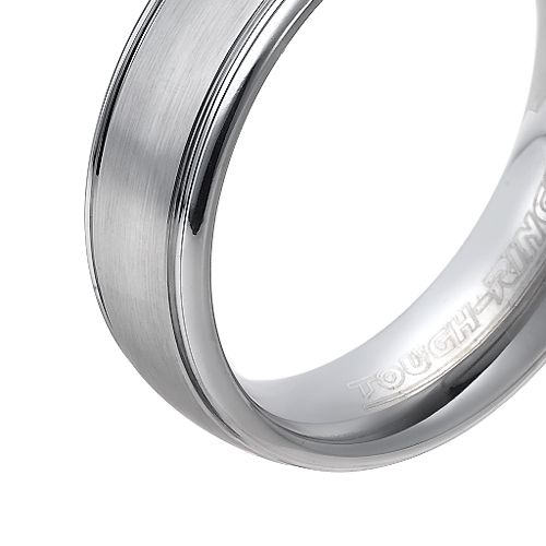 Tungsten wedding bands - polished tungsten ring with brushed center - 6.5mm