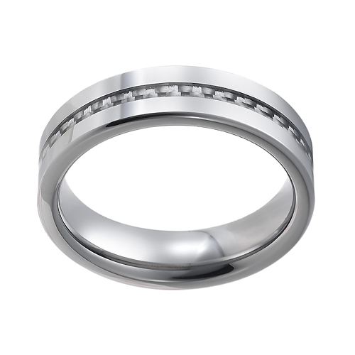 Tungsten wedding bands - polished tungsten ring with a very delicate grey carbon fiber inlay - 8mm