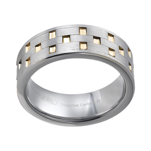Tungsten wedding bands - brushed tungsten ring with hand engraved gold plating - 8mm