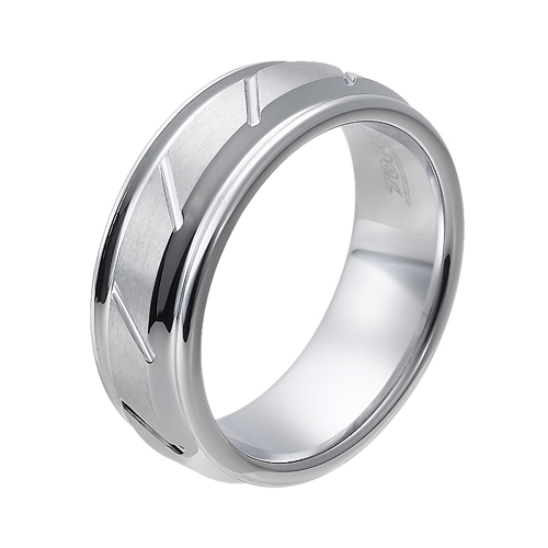 Tungsten wedding bands - polished tungsten ring with hand engraved trims and white finishing - 8mm