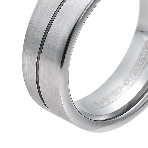 Tungsten wedding bands - brushed tungsten ring with hand engraved curved trim - 8mm