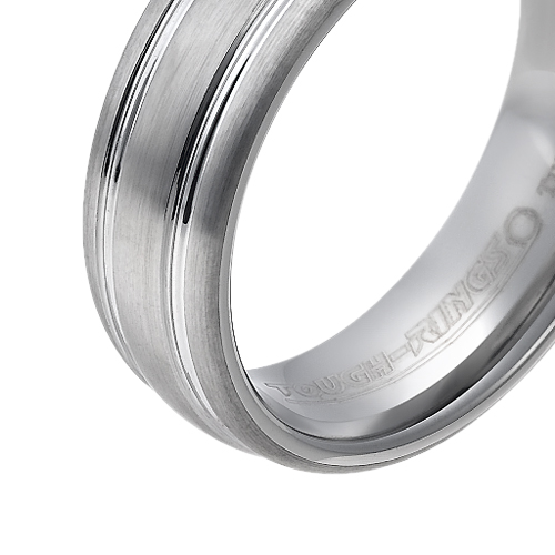 Tungsten wedding bands - brushed tungsten ring with polished side engraving - 7mm