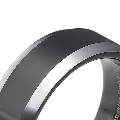 Tungsten wedding bands - polished black oxidized tungsten ring with beveled edges - 8mm