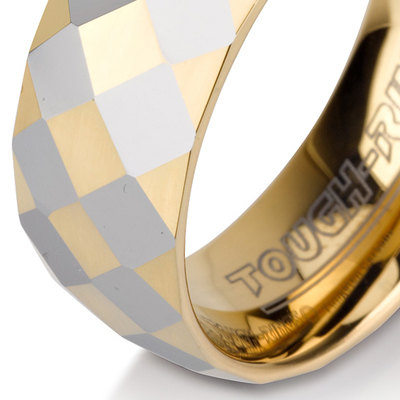 Tungsten wedding bands - diamond cut tungsten ring with partial gold plating - 8mm