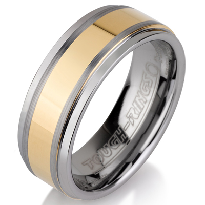 Tungsten wedding bands - polished tungsten ring with polished gold plated center - 8mm