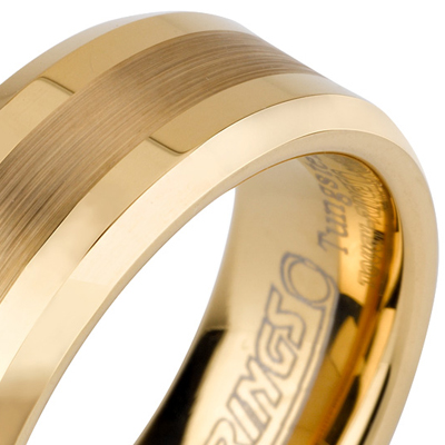 Tungsten wedding bands - gold plated polished tungsten ring with brushed center and beveled edges - 8mm