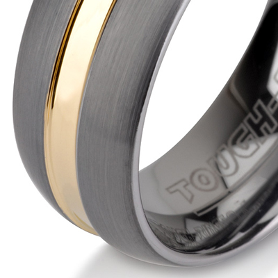 Tungsten wedding bands - brushed tungsten ring with polished gold centered inlay - 8mm