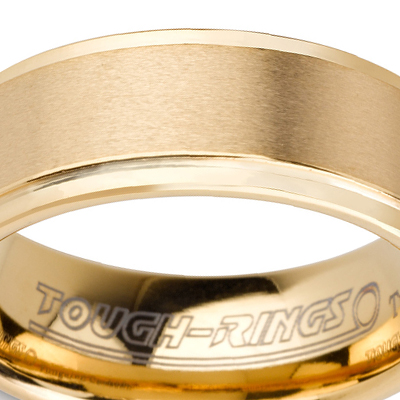 Tungsten wedding bands - brushed gold plated tungsten ring with polished sides - 8mm