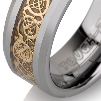 Tungsten wedding bands - polished tungsten ring with delicate gold plated inlay - 8mm